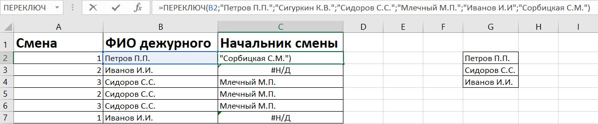 Функция ПЕРЕКЛЮЧ в Excel
